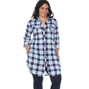 PLUS Piper- Stretchy Plaid Tunic MNT/GRY 17556-07